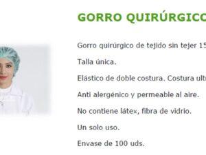 GORROS DESECHABLES BLANCOS BOLSA 100 GORROS